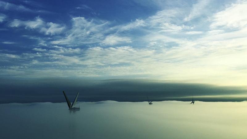 現場が特殊 風車頂上からの景色